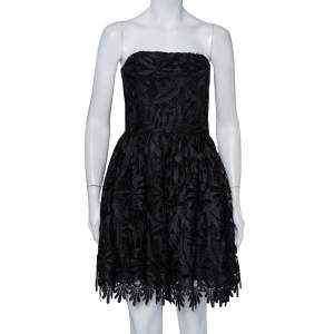 Alice + Olivia Black Lace Strapless Daisy Mini Dress L