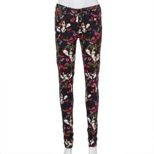 Alice + Olivia Black Floral Printed Denim Skinny Fit Jeans S
