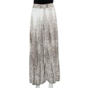 Alice + Olivia Cream & Brown Knit Wide Leg Trousers S