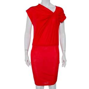 Alice + Olivia Red Lyocell Twisted Draped Ruched Oversized Mini Dress XS