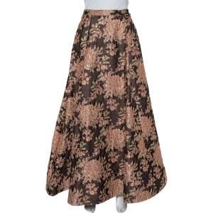 Alice + Olivia  Brown Lurex Floral Jacquard Pleated Rachelle Maxi Skirt S