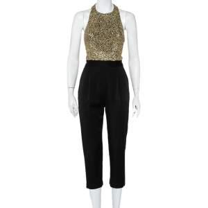 Alice + Olivia Black Crepe Sequin Embellished Jeri Jumpsuit S