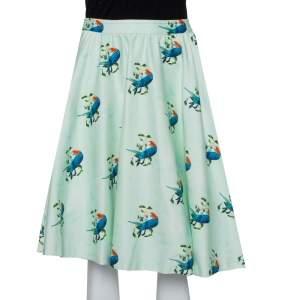Alice + Olivia Mint Green Earla Printed Cotton Flared Skater Skirt S