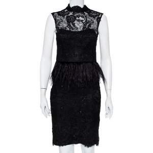 Alice + Olivia Black Embellished Lace & Feather Trim Patricia Peplum Dress S