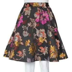 Alice + Olivia Black Brocade High Waist Flared Earla Skirt S