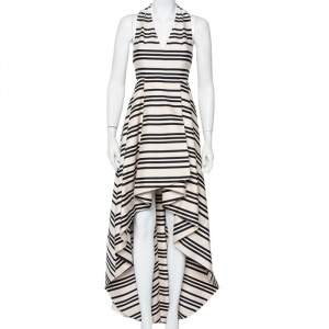 Alice + Olivia Beige & Black Striped Cotton Pleated High Low Hem Aveena Gown S