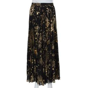 Alice + Olivia Black Metallic Sun Printed Plisse Maxi Skirt S