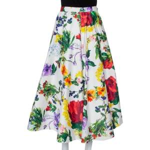 Alice + Olivia White Floral Printed Cotton Flared Maxi Skirt S