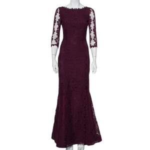 Alice + Olivia Purple Lace Open Back Fishtail Detail Gown S