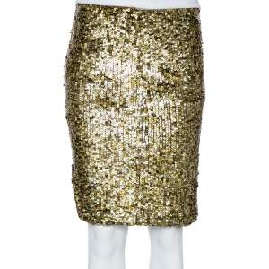 Alice + Olivia Olive Green Sequin Embellished Tulle Bryce Mini Skirt S