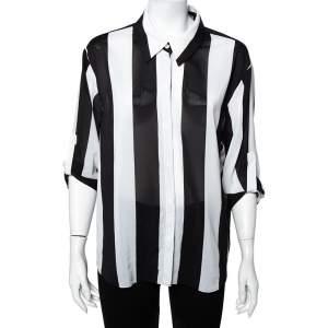 Alice + Olivia Monochrome Striped Chiffon Button Front Shirt L