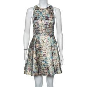 Alice + Olivia Multicolor Lurex Jacquard Cutout Detail Mini Dress S