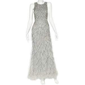 فستان آليس + اوليفيا فون تول رصاصي مطرز بالريش والخرز مقاس صغير - سمول