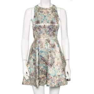 Alice + Olivia Metallic Jacquard Cutout Detail Mini Dress S