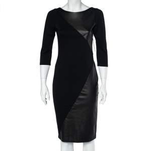 Alice + Olivia Black Jersey Leather Paneled Sheath Dress M