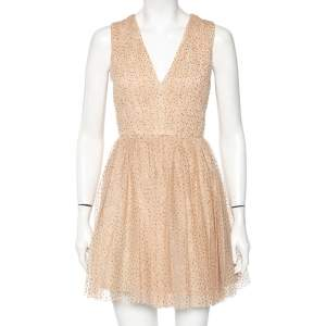 Alice + Olivia Gold Dotted Tulle Gathered Sleeveless Monica Dress S