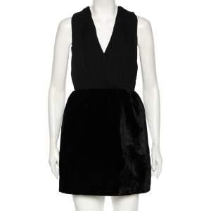 Alice + Olivia Black Silk & Synthetic Riva Gathered Pouf Skirt Dress M