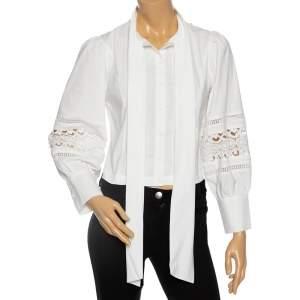 Alice + Olivia White Eyelet Cotton Neck-Tie Detailed Shirt S