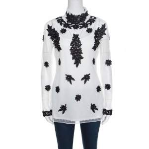 Alice by Temperley White Dotted Tulle Contrast Floral Lace Applique Evelyn Top M