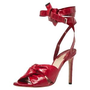 Altuzarra Red Eel Leather 'Zuni' Knotted Sandals Size 35