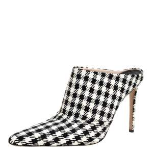 Altuzarra Black/Whte Checkered Canvas Davidson Houndstooth Mules Size 38.5
