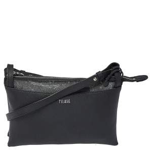 Alivero Martini 1A Classe Black Geo Print Coated Canvas and Leather Zip Shoulder Bag