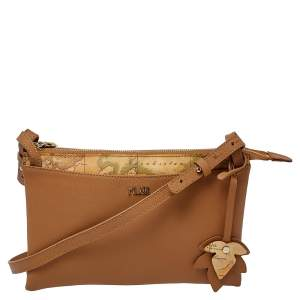 Alviero Martini 1A Classe Tan Geo Print Coated Canvas and Leather Zip Shoulder Bag