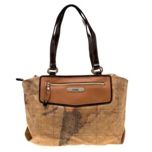 Alviero Martini 1A Classe Brown Geo Print Coated Canvas Satchel