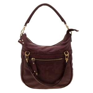 Alviero Martini 1A Classe Marron Map Embossed Leather Shoulder Bag
