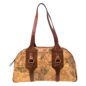 Alviero Martini 1A Classe Brown Geo Print Canvas and Leather Satchel