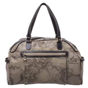 Alviero Martini 1A Classe Grey Geo Printed Coated Canvas Satchel