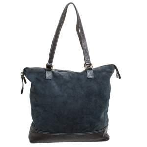 Alviero Martini 1A Classe Blue/Dark Brown Geo Print Fabric and Leather Tote