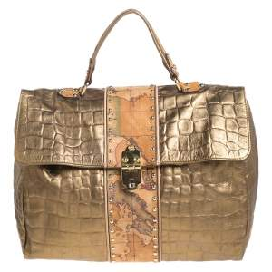 Alviero Martini 1A Classe Metallic Gold Croc Embossed Leather and Coated Canvas Geo Print Top Handle Bag
