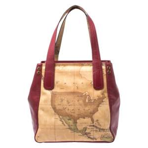 Alviero Martini 1A Classe Red Leather and Coated Canvas Tote
