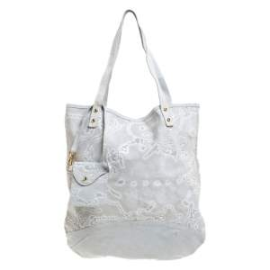 Alviero Martini 1A Classe Light Grey Embossed Print Suede Tote
