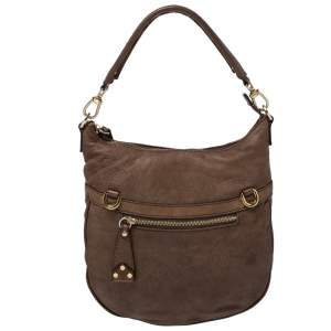 Alviero Martini 1A Classe Brown Map Embossed Leather Hobo