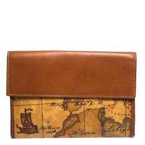 Alviero Martini 1A Classe Tan Geo Map Coated Canvas and Leather Multiple Pocket Flap Wallet