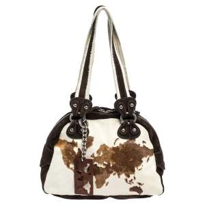 Alviero Martini 1A Classe Beige/Brown Calfhair and Suede Satchel