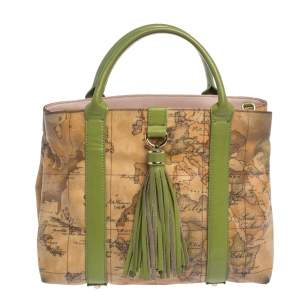 Alviero Martini 1A Classe Beige/Green Geo Print Coated Canvas and Leather Tassel Tote