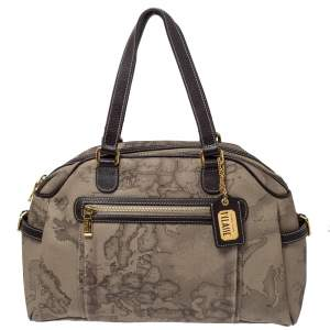 Alviero Martini 1A Classe Grey Geo Print Coated Canvas and Leather Front Pocket Satchel