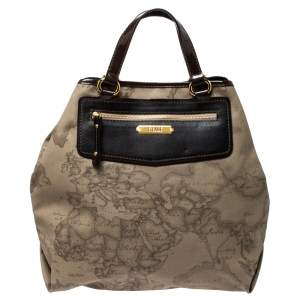 Alviero Martini 1A Classe Beige/Dark Brown Coated Canvas and Patent Leather Tote