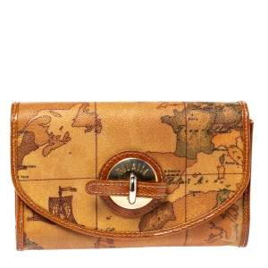 Alviero Martini 1A Classe Tan Geo Map Coated Canvas Flap Compact Wallet