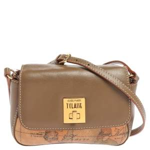 Alviero Martini 1A Classe Beige/Brown Coated Canvas and Leather Crossbody Bag