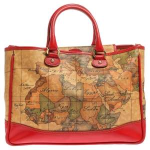 Alviero Martini 1A Classe Beige/Red Geo Print Coated Canvas and Leather Tote