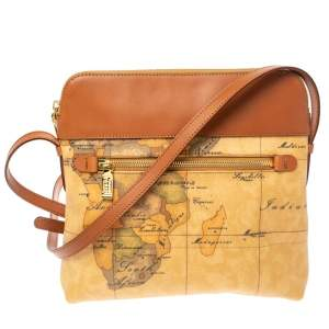 Alviero Martini 1A Classe Coated Canvas and Leather Zip Crossbody Bag