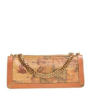 Alviero Martini 1A Classe Coated Canvass and Leather Chain Baguette Bag