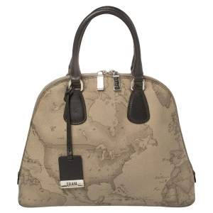 Alviero Martini 1A Classe Grey Geo Print Coated Canvas Dome Satchel