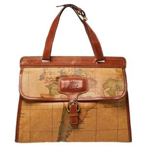 Alviero Martini 1A Classe Tan Geo Print Coated Canvas and Leather Buckle Flap Shoulder Bag
