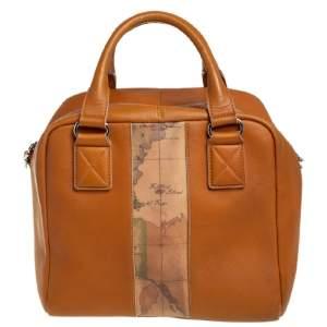 Alviero Martini 1A Classe Tan Leather and Coated Canvas Boston Bag