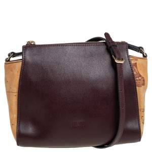 Alviero Martini 1A Classe Burgundy Leather and Coated Canvas Crossbody Bag